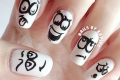 uñas decoradas blanco y negro 8