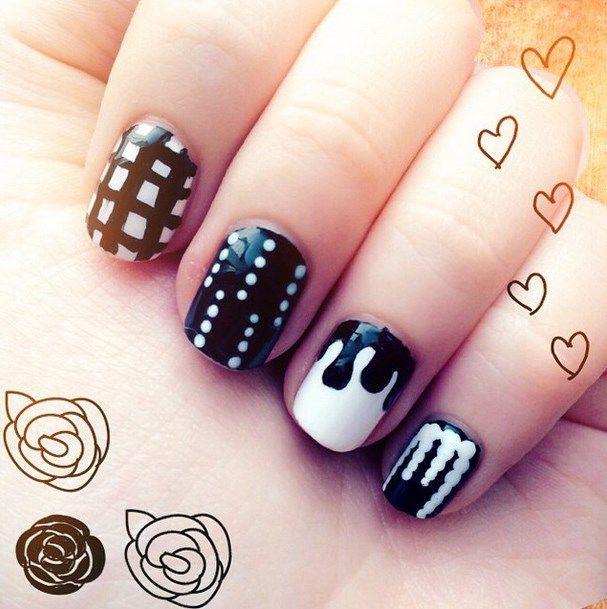 uñas decoradas blanco y negro 11
