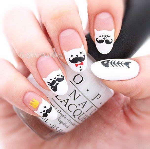 uñas decoradas blanco y negro 15