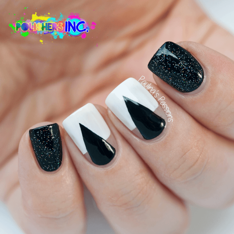 uñas decoradas blanco y negro 7