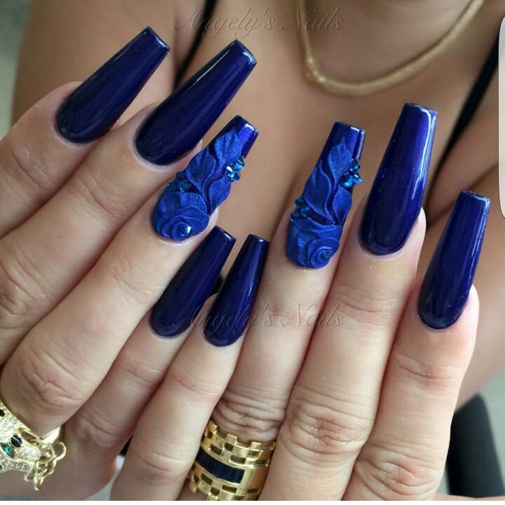 Unas Azules Decoradas Con Flores Piedras Y Mas 20 Disenos Con Estilo